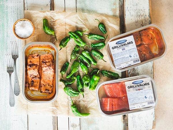 Juhannuksen kalapöytä - grillivalmiit kirjolohifileepalat
